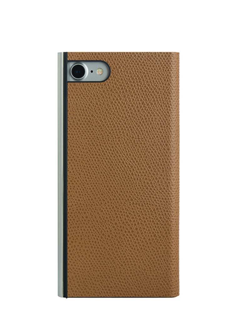 Flip Jacket for iPhone 7 Embossed Leather Back Camel