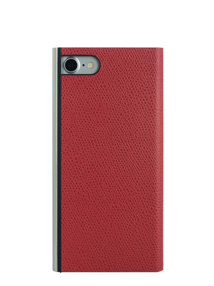 Flip Jacket for iPhone 7 Embossed Leather Back Red