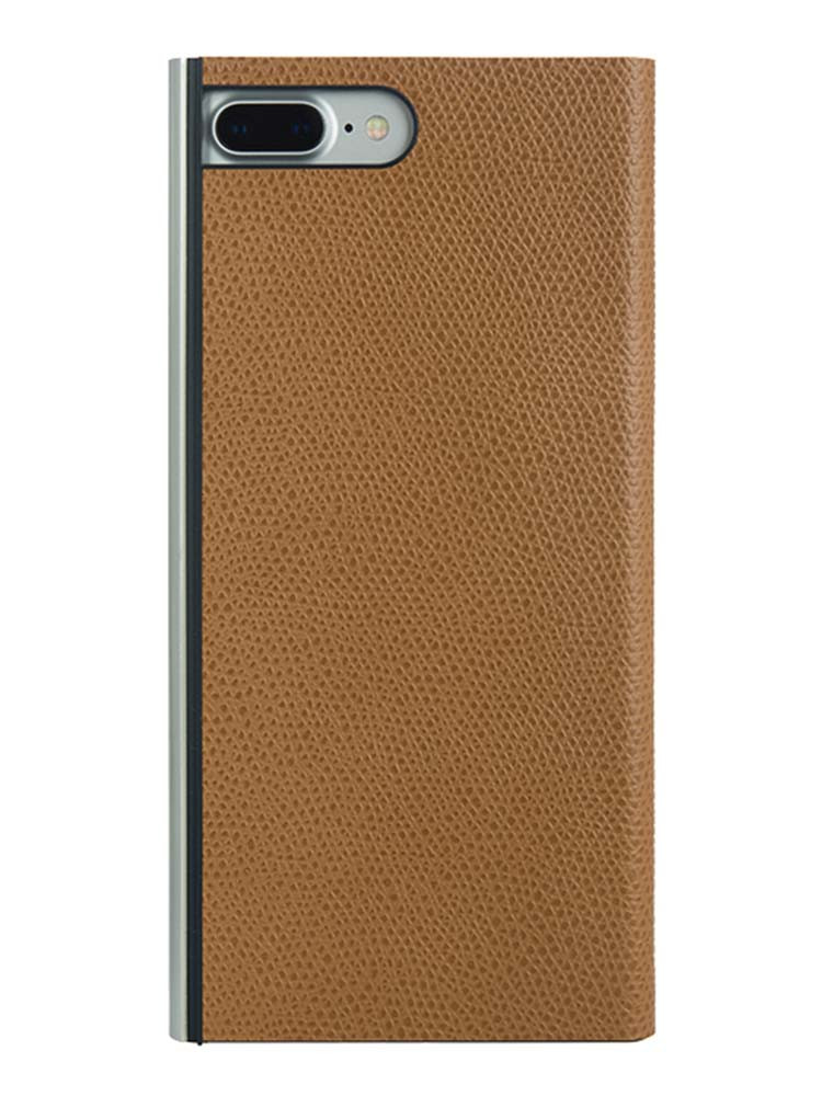 Flip Jacket for iPhone 7 Plus Embossed Leather Back Camel