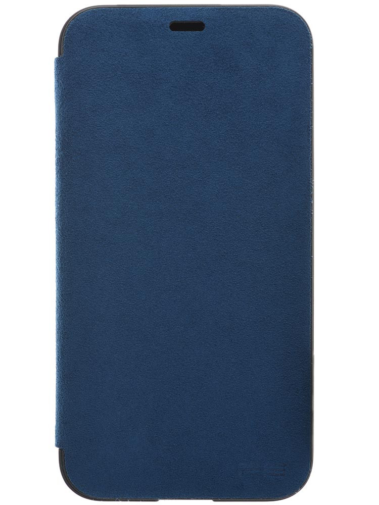 Ultrasuede Flip Case for iPhone X Front Blue