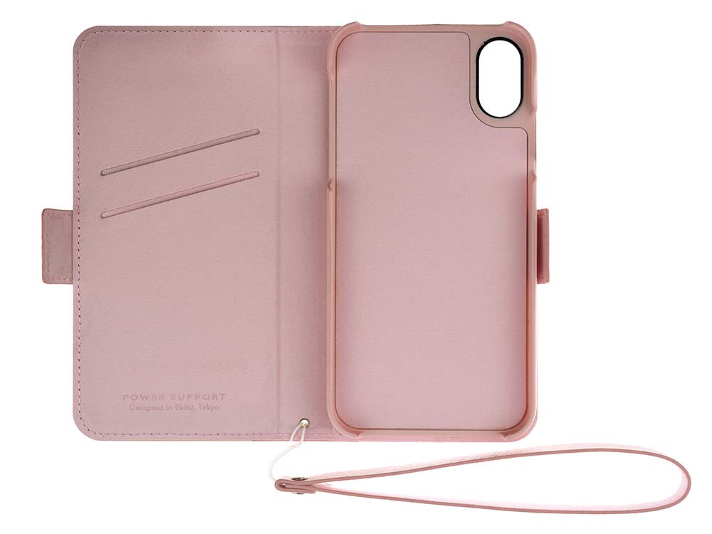 Leather Flip Case for iPhone X Rose Open