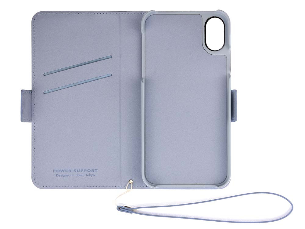 Leather Flip Case for iPhone X Blue Open