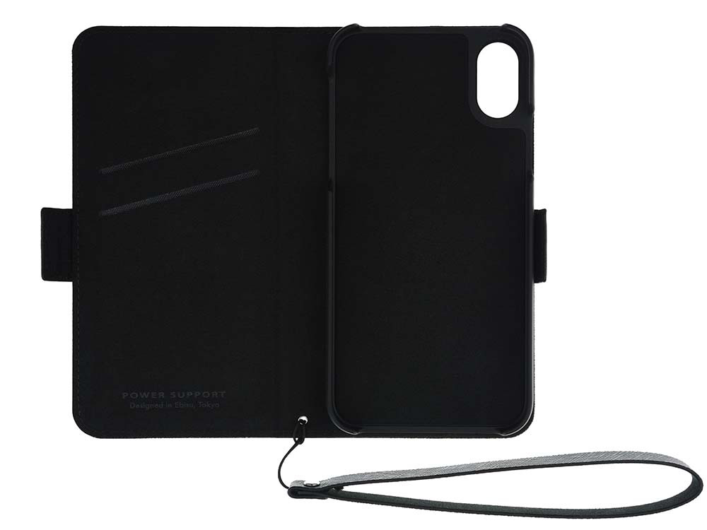 Leather Flip Case for iPhone X Black Open
