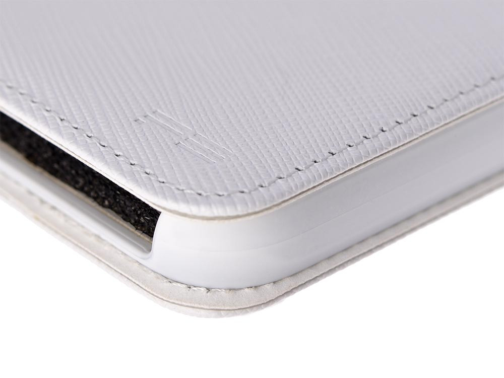 Leather Flip Case for iPhone X White Detail
