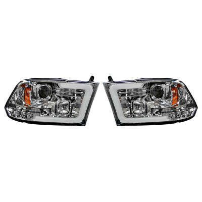 RECON 264270CLC CLEAR PROJECTOR HEADLIGHTS WITH OLED U-BAR 2010-2018 DODGE RAM 2500/3500 | 2009-2018 DODGE RAM 1500 (WITHOUT FACTORY PROJECTOR HEADLIGHTS)