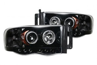 RECON 264191BK SMOKED PROJECTOR HEADLIGHTS WITH LED HALOS 2003-2005 DODGE RAM 2500/3500