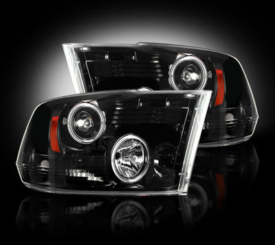 RECON 264270BK SMOKED PROJECTOR HEADLIGHTS WITH LED HALOS 2010-2018 DODGE RAM 2500/3500 | 2009-2018 DODGE RAM 1500 (WITHOUT FACTORY PROJECTOR HEADLIGHTS)