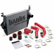 BANKS 25975 INTERCOOLER UPGRADE, INCLUDES HIGH-RAM INTAKE ELBOW AND BOOST TUBES (RED POWDER-COATED) FOR 2005-2007 FORD F250/F350/F450/F550 6.0L POWER STROKE, AND 2005 EXCURSION
