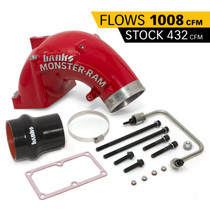 BANKS 42790-PC Monster-Ram Intake Elbow W/Fuel Line and Hump Hose 4 Inch Red Powder Coated 07.5-18 Dodge/Ram 2500/3500 6.7L