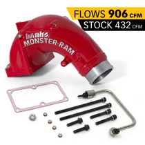 BANKS 42788-PC Monster-Ram Intake Elbow Kit W/Fuel Line 3.5 Inch Red Powder Coated 07.5-18 Dodge/Ram 2500/3500 6.7L