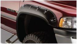 BUSHWACKER 50017-02 Black Pocket/Rivet Style Smooth Finish Front Fender Flares for 2002-2008 Dodge Ram 1500; 2003-2009 Ram 2500, 3500