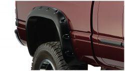 """BUSHWACKER 50018-02 Black Pocket/Rivet Style Smooth Finish Rear Fender Flares for 2002-2008 Dodge Ram 1500; Ram 2500, 3500   Fits 75.9"""" & 76.3"""" Bed"""