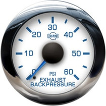 ISSPRO R13122 EV2 Chrome Bezel  Blue Pointer W/Black Hub  White Face  Blue Numerals (Marine) Exh Back Pressure 0-60Psi
