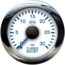 ISSPRO R13133 EV2 Chrome Bezel  Blue Pointer W/Black Hub  White Face  Blue Numerals (Marine) Turbo Boost 0-30Psi
