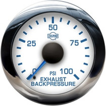 ISSPRO R13155 EV2 Chrome Bezel  Blue Pointer W/Black Hub  White Face  Blue Numerals (Marine) Exh Back Pressure 0-100Psi