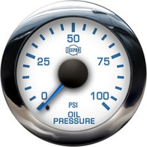 ISSPRO R13211 EV2 Chrome Bezel  Blue Pointer W/Black Hub  White Face  Blue Numerals (Marine) Oil Pressure 0-100Psi