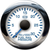 ISSPRO R13288 EV2 Chrome Bezel  Blue Pointer W/Black Hub  White Face  Blue Numerals (Marine) Fuel Rail Pressure 0-30000Psi