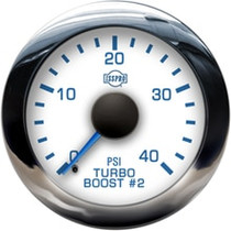 ISSPRO R13377 EV2 Chrome Bezel  Blue Pointer W/Black Hub  White Face  Blue Numerals (Marine) Turbo Boost 2 0-40Psi