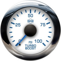 ISSPRO R13433 EV2 Chrome Bezel  Blue Pointer W/Black Hub  White Face  Blue Numerals (Marine) Turbo Boost 0-100Psi