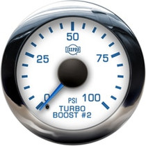 ISSPRO R13477 EV2 Chrome Bezel  Blue Pointer W/Black Hub  White Face  Blue Numerals (Marine) Turbo Boost 2 0-100Psi