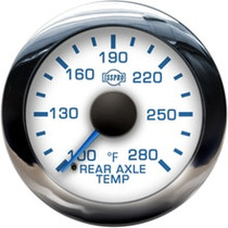 ISSPRO R13511 EV2 Chrome Bezel  Blue Pointer W/Black Hub  White Face  Blue Numerals (Marine) Rear Axle Temp 100-280F