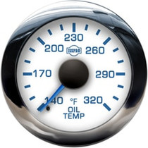 ISSPRO R13544 EV2 Chrome Bezel  Blue Pointer W/Black Hub  White Face  Blue Numerals (Marine) Oil Temp 140-320F