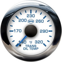 ISSPRO R13566 EV2 Chrome Bezel  Blue Pointer W/Black Hub  White Face  Blue Numerals (Marine) Trans Oil Temp 140-320F