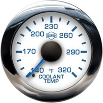 ISSPRO R13577 EV2 Chrome Bezel  Blue Pointer W/Black Hub  White Face  Blue Numerals (Marine) Coolant Temp 140-320F