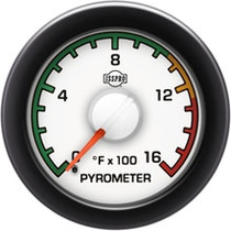 ISSPRO R14021 EV2 Black Bezel  Red Pointer W/White Hub  White Face  Black Numerals Green When Backlit (Dodge) Pyrometer 0-1600F