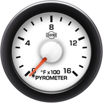 ISSPRO R14022 EV2 Black Bezel  Red Pointer W/White Hub  White Face  Black Numerals Green When Backlit (Dodge) Pyrometer No-Color 0-1600F