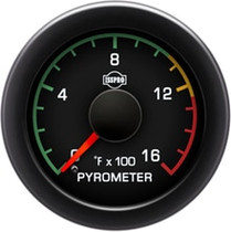 ISSPRO R17021 EV2 Black Bezel  Red Pointer W/Black Hub  Black Face  White Numerals Green When Backlit (Ford) Pyrometer 0-1600F