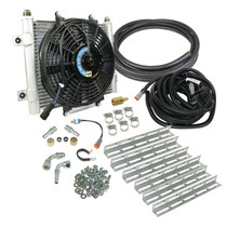BD DIESEL 1030606-1/2 XTRUDE TRANSMISSION COOLER WITH FAN- COMPLETE KIT 1/2IN LINES