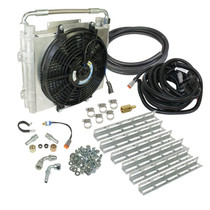BD DIESEL 1030606-DS-12 XTRUDE TRANSMISSION COOLER WITH FAN-DOUBLE STACKED COMPLETE KIT 1/2 INCH LINES