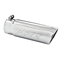 MBRP T5112 EXHAUST TIP 4 INCH O.D. ANGLED ROLLED END 3 1/2 INCH INLET 12 INCH LENGTH T304 STAINLESS STEEL
