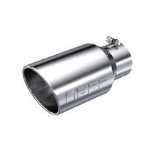 MBRP T5073 EXHAUST TAIL PIPE TIP 6 INCH O.D. ANGLED ROLLED END 4 INCH INLET 12 INCH LENGTH T304 STAINLESS STEEL