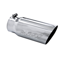 MBRP T5052 EXHAUST TAIL PIPE TIP 5 INCH O.D. ANGLED SINGLE WALLED 4 INCH INLET 12 INCH LENGTH T304 STAINLESS STEEL