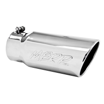 MBRP T5051 EXHAUST TAIL PIPE TIP 5 INCH O.D. ANGLED ROLLED END 4 INCH INLET 12 INCH LENGTH T304 STAINLESS STEEL