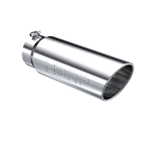 MBRP T5125 EXHAUST TIP 6 INCH O.D. ANGLED ROLLED END 5 INCH INLET 18 INCH LENGTH T304 STAINLESS STEEL