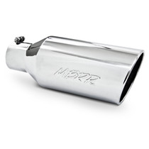 MBRP T5126 EXHAUST TAIL PIPE TIP 7 INCH O.D. ROLLED END 4 INCH INLET 18 INCH LENGTH T304 STAINLESS STEEL