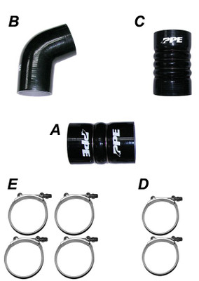 PPE 115910610 LBZ/LMM 06-10 Silicone Hose And Clamp Kit Black