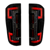 RECON 264299BK DUAL U-BAR SMOKED LENS OLED TAIL LIGHTS 2017-2019 FORD SUPER DUTY (WITH FACTORY HALOGEN TAIL LIGHTS)
