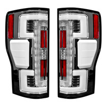 RECON 264299CL DUAL U-BAR CLEAR LENS OLED TAIL LIGHTS 2017-2019 FORD SUPER DUTY (WITH FACTORY HALOGEN TAIL LIGHTS)