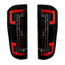 RECON 264299LEDBK DUAL U-BAR SMOKED LENS OLED TAIL LIGHTS 2017-2019 FORD SUPER DUTY (WITH FACTORY LED TAIL LIGHTS)