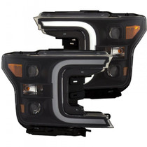 ANZO 111398 PROJECTOR LIGHT BAR STYLE SWITCHBACK HEADLIGHTS FOR 2018-2020 FORD F-150 (BLACK AMBER)