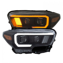 ANZO 111397 PROJECTOR PLANK STYLE SWITCHBACK H.L BLACK AMBER (W/ LED DRL) FOR 16-19 TOYOTA TACOMA