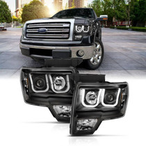ANZO 111383 BLACK SWITCHBACK LED U-BAR PROJECTOR HEADLIGHTS FOR 09-14  FORD F-150