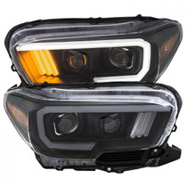 ANZO 111379 TOYOTA TACOMA '16-19 PROJECTOR PLANK STYLE HEADLIGHT BLACK W/ AMBER (W/ LED DRL)