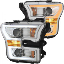 ANZO 111358 FORD F-150 15 -17 PROJECTOR PLANK STYLE SWITCHBACK H.L. CHROME / AMBER