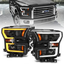 ANZO 111357 PROJECTOR PLANK STYLE SWITCHBACK H.L. BLACK/AMBER FOR 2015-2017 FORD F-150