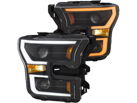 ANZO 111347 PROJECTOR PLANK STYLE H.L. BLACK/CLEAR/AMBER FOR 15-17 FORD F-150
